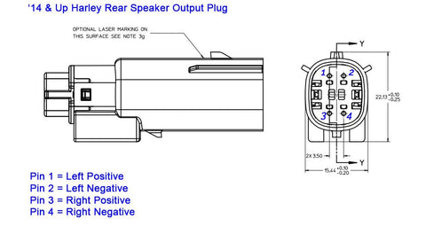 Harley rear speaker output plug with pin out