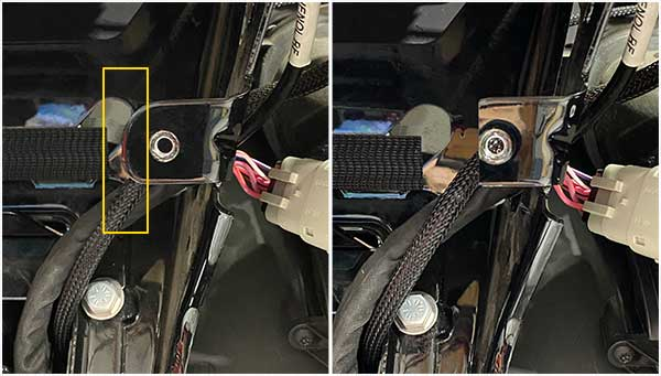 Harley Road Glide head light modification for Helix amplifier