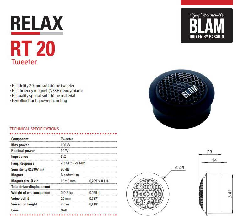 Blam High Output Harley Component Tweeter for 690RS