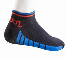 Load image into Gallery viewer, 10047-Mens-Sport-Sock-Black-turq-and-Red-side