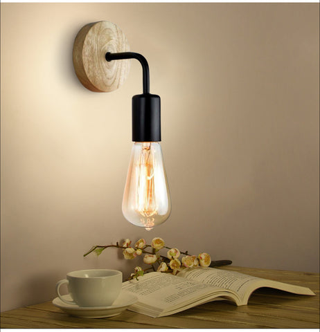 Nordic Iron And Wood Sconce Wall Lamp