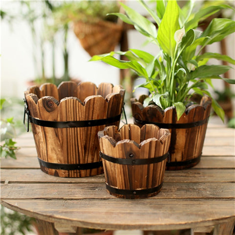 Wooden Bucket Planter