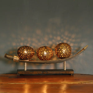 Handmade Southeast Asian Coconut Shell Table Lamp