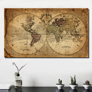 Vintage World Map Canvas