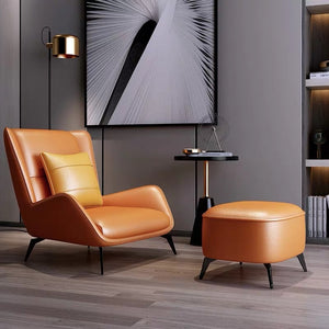 European Style Leather Lounge Chair And Ottoman