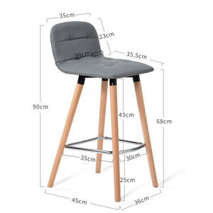 Grey Faux Leather Stool