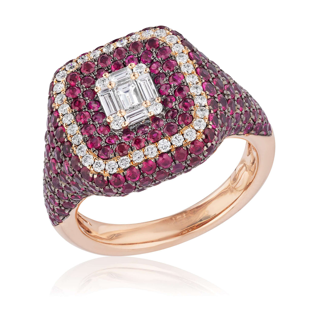 Rose Gold Ruby & Diamond Square Ring
