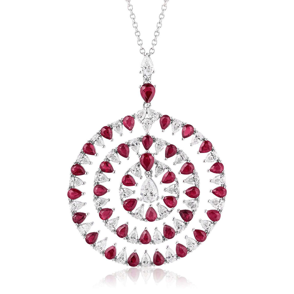 White Gold Diamond & Ruby Pendant