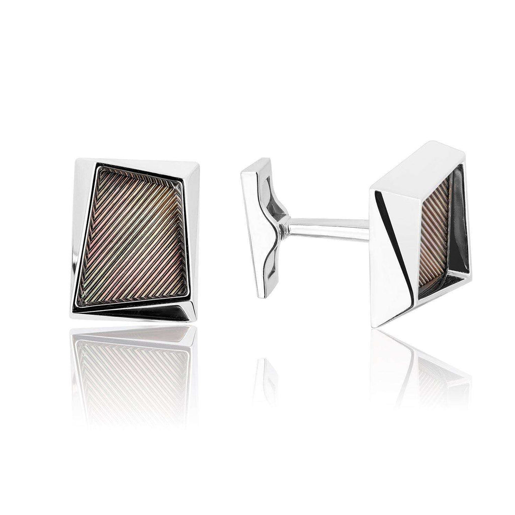 18k White Gold Cufflinks With Black Mother of Pearl