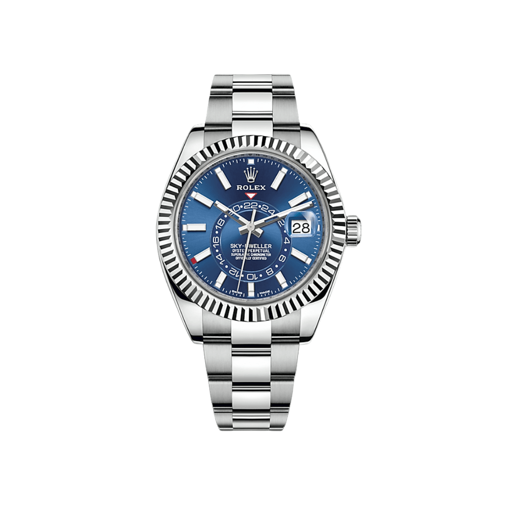 Rolex Sky-Dweller 42mm Stainless Steel White Gold Bezel Blue Dial Oyster Bracelet 326934