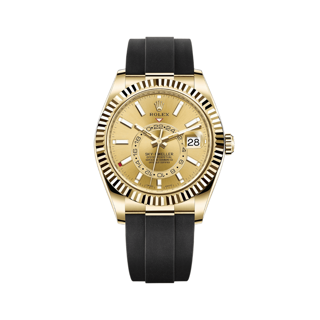 Rolex Sky-dweller 42mm Yellow Gold Champagne Dial Rubber Strap 326238