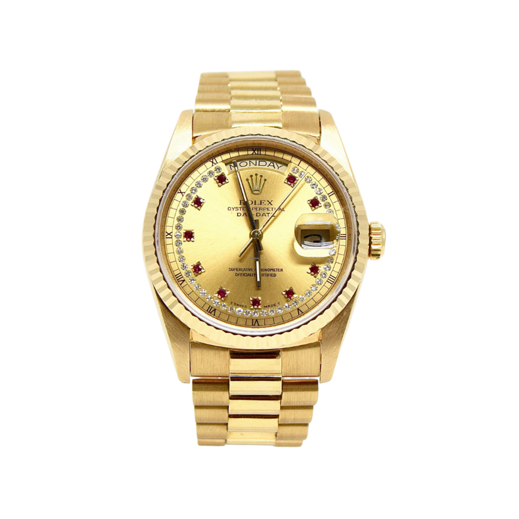 Rolex Presidential Day-Date 36mm Yellow Gold Ruby Diamond Dial 18238