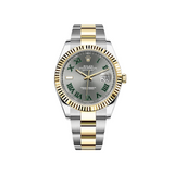 Rolex Datejust Yellow Gold Stainless Steel Slate Dial Green Roman numerals