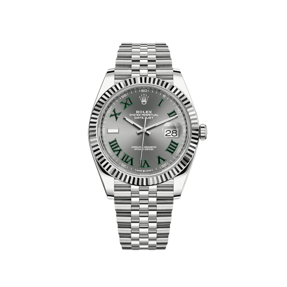 Rolex Datejust 41mm Steel Fluted White Gold Bezel Slate Dial 126334