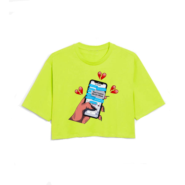 Leave Me On Read Crop Tee - Highlighter