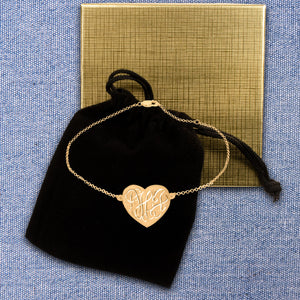 Heart Engraved  Monogram Anklet