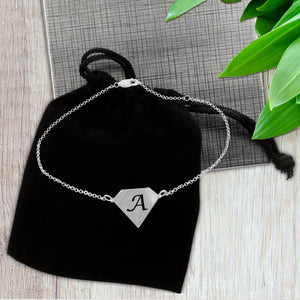 Diamond Shaped Initial Anklet