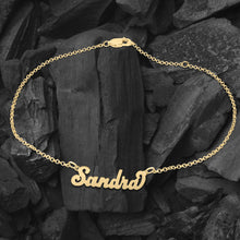"Load image into Gallery viewer, ""Carrie"" Style Personalized Name Anklet"
