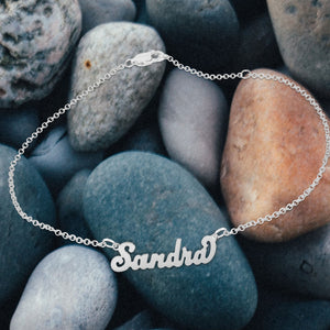 """Carrie"" Style Personalized Name Anklet"