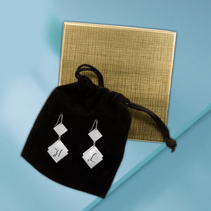 Diamond-Shaped Initial Earrings