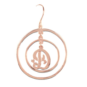 Chandelier Single Initial Circle Earring