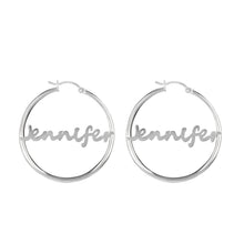 Load image into Gallery viewer, Transitional Script Name Hoop Earring