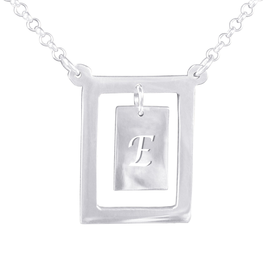 Franed Chandelier Initial Necklace with Chain