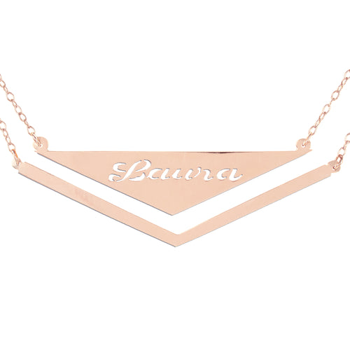 Double Hanging Personalized Triangle Pendant