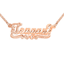 Load image into Gallery viewer, Script Dicmond Cut Name Necklace with Beaded First Letter and BeadedTail