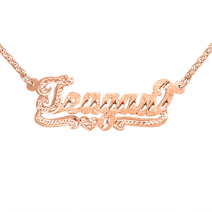 Script Dicmond Cut Name Necklace with Beaded First Letter and BeadedTail