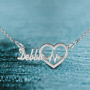Mini Heart Beat Name Necklace