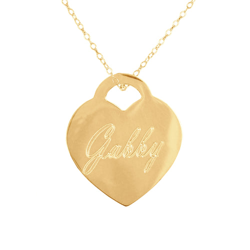 Engraved Name Heart Pendant with Chain