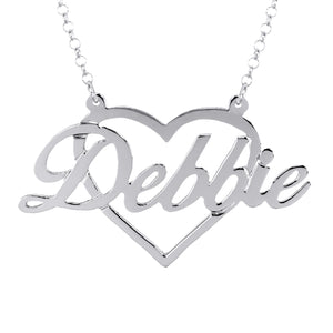 Script Name with Silhouette Frame Necklace