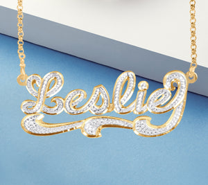 Diamond Look Script Necklace