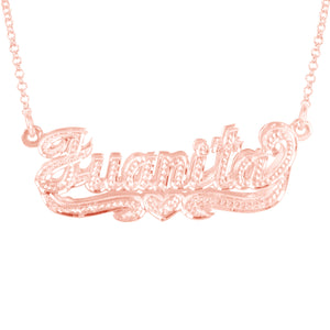 Double 3-D Full Diamond Nameplate with Heart
