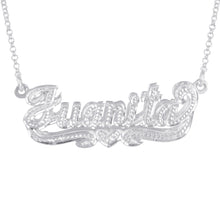 Load image into Gallery viewer, Double 3-D Full Diamond Nameplate with Heart
