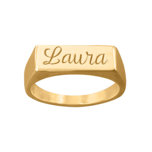 Ladies Petite Script Engraved Name Ring