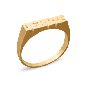 Petiet Name Ring with Block Letters