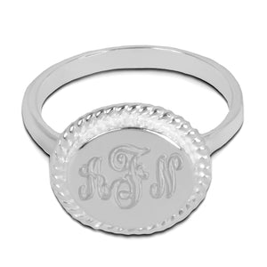 Accent Engraved Monogram Ring