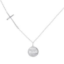 Load image into Gallery viewer, Personalzed Engraved Graceful Disc with Cross Station Chain
