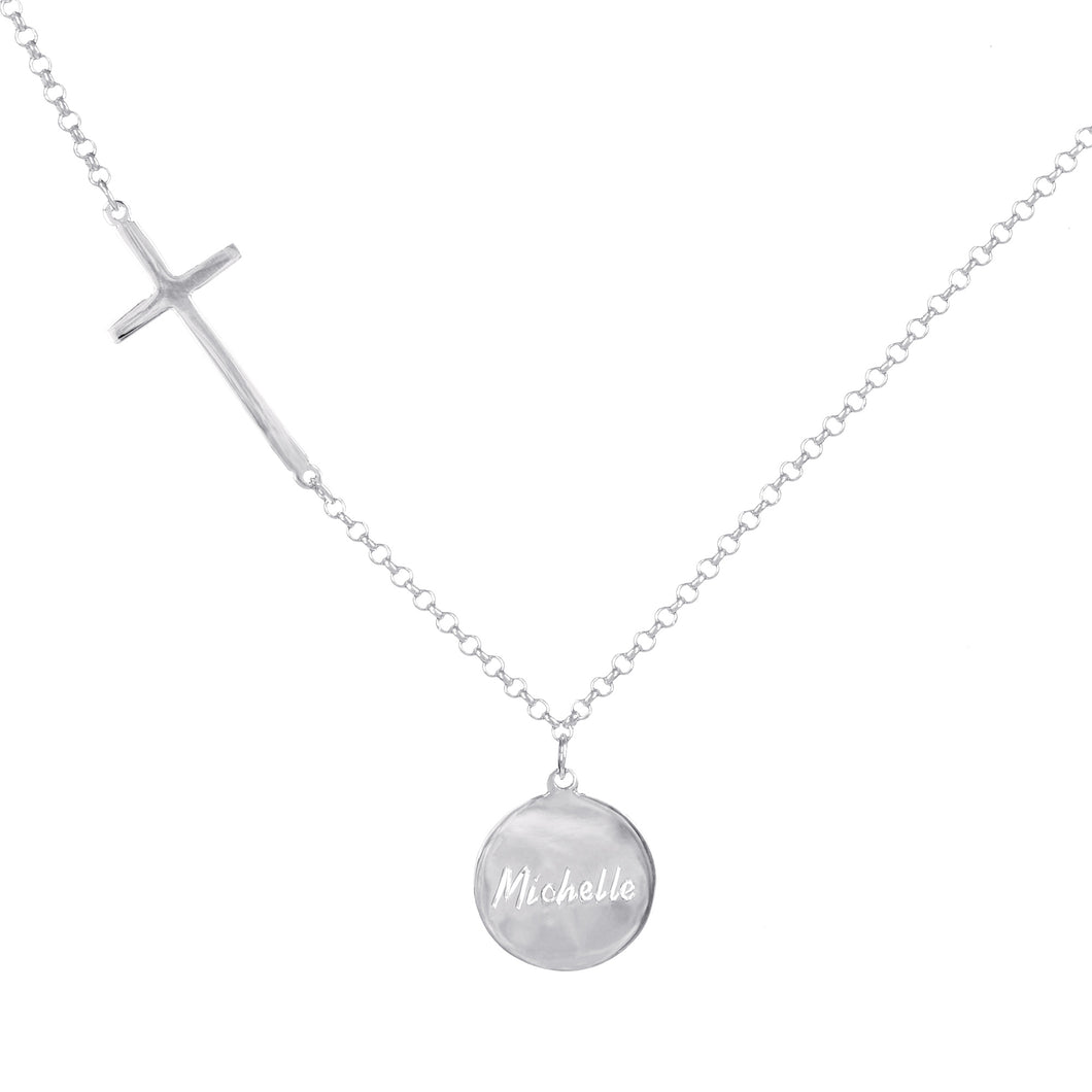 Personalzed Engraved Graceful Disc with Cross Station Chain