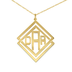 Double Diamond-Shaped Monogram Necklace