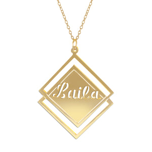 Double Square with Name Necklace