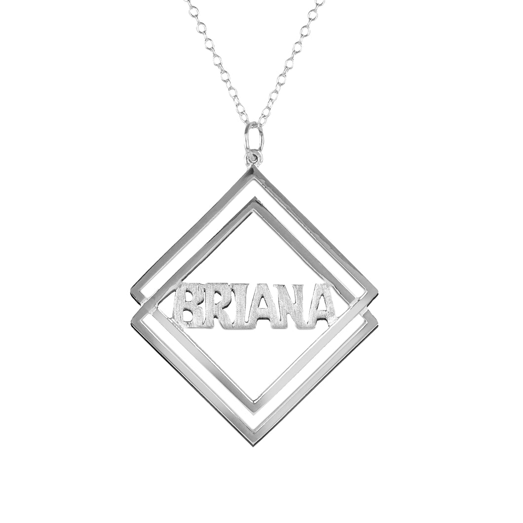 Duo-Diamond Shaped Block Name Pendant