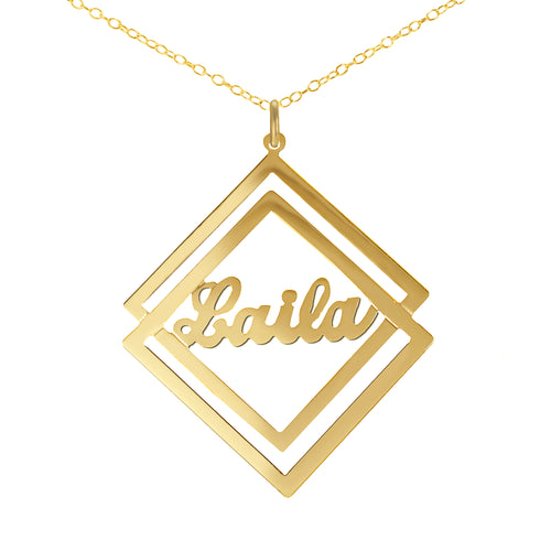 Duo-Diamond Shaped Script Name Pendant