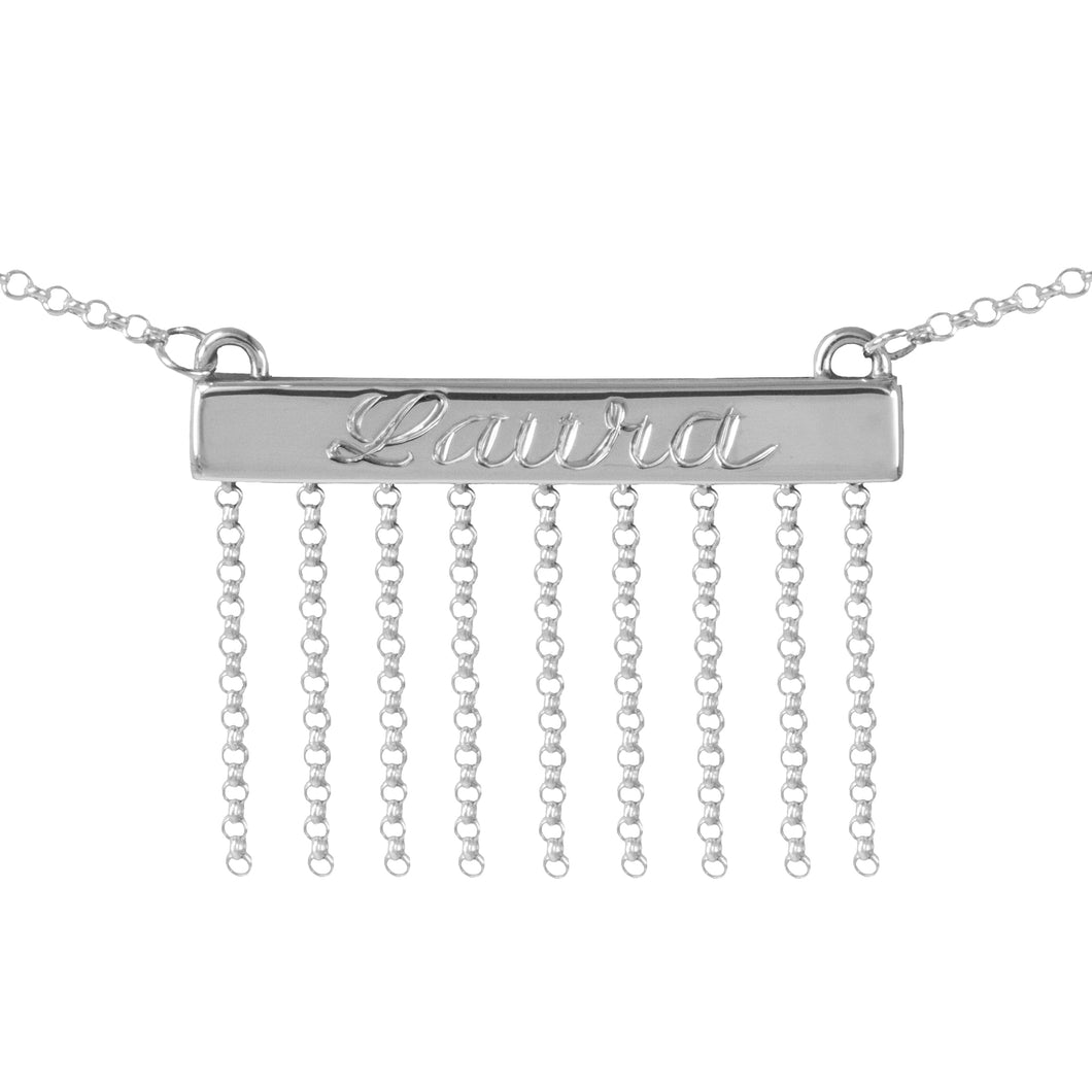 Bar Necklace with Chain Accents