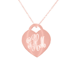 Engraved Monogram Heart Pendant with Chain