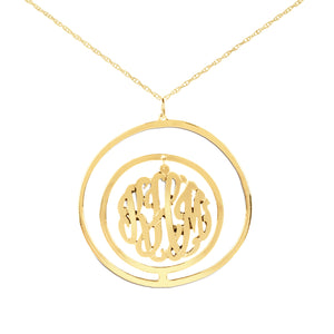 gold-plated silver monogram necklace inside double circular pendant