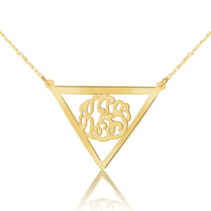 gold-plated silver monogram necklace inside thick inverse triangle frame pendant