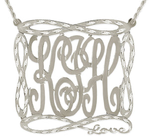 3 Initial Diamond Cut Infinity Monogram